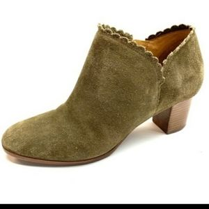 Jack Rogers Olive Suede Maryanne Scalloped Booties